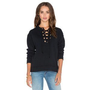 MOTHER The Tie Up Easy Sweatshirt Long Sleeve Top Black Size Small